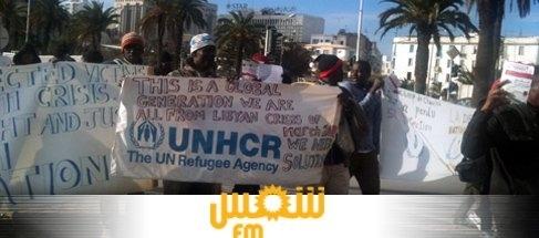 Actualités : Les réfugiés du camp de Choucha protestent à Place des Droits de l'Homme à Tunis