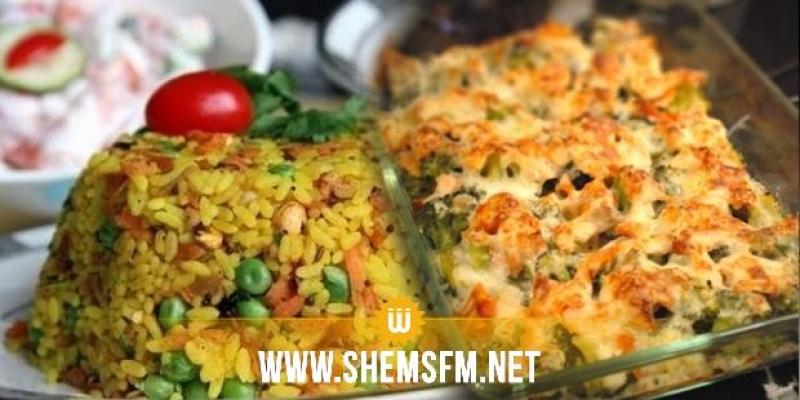 Chnowa el Ftour : Salade de fenouil, gratin de brocoli et riz