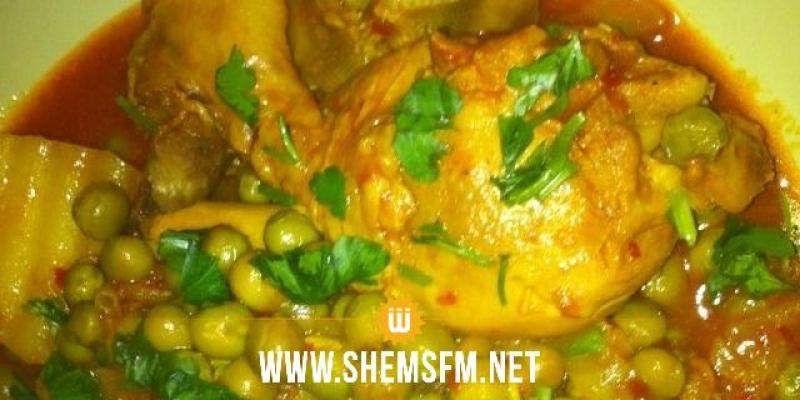 Chnowa el Ftour : Ragoût de petits pois au poulet