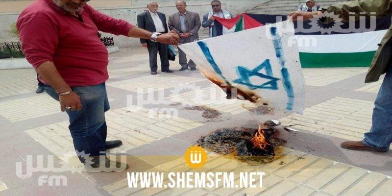 بالصور... حرق علمي الولايات المتحدة والكيان الصهيوني في باجة