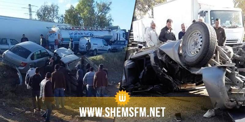 بوحجلة: قتيل و 6 جرحـى في اصطدام عنيف بين 4 سيارات