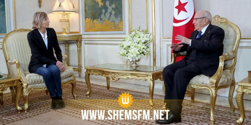 قايد السبسي في لقائه مسؤولة فرنسية: 'تونس ماضية في إرساء النظام الديمقراطي'