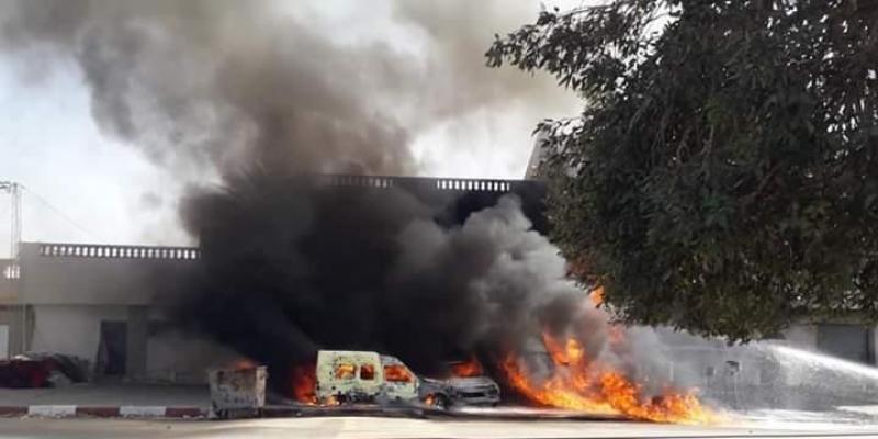 نشوب حريق بمحل لبيع البنزين بالطريق الجهوية قبلي توزر