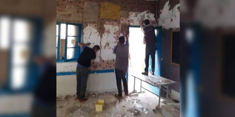 بعد أن تعرض للحرق والتخريب: تنظيف وإعادة طلاء قسم بابتدائية عين البراقة في بوحجلة (صور)