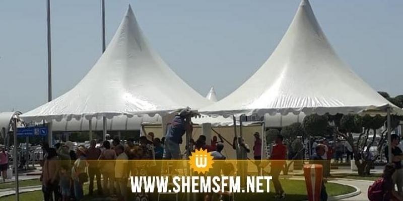 Aéroport Tunis-Carthage : Installation de tentes à l'extérieur pour améliorer les conditions d'attente (photos)