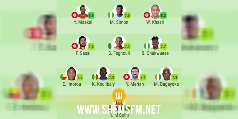 ال'كان':4 لاعبين من المنتخب التونسي في التشكيلة المثالية للدور الربع النهائي