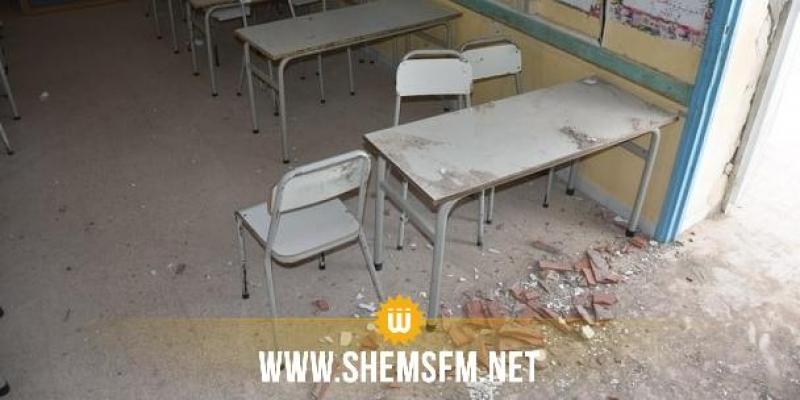 (بالصور) قفصة: سقوط جزء من سقف إحدى القاعات بالمدرسة الإبتدائية حي الشباب 2