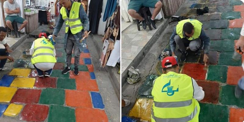 L'Institut National du Patrimoine enlève la peinture à la médina de Tunis