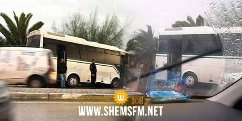 اصابة 3 اطارات نقابية في حادث انزلاق حافلة على مستوى حي الرمانة