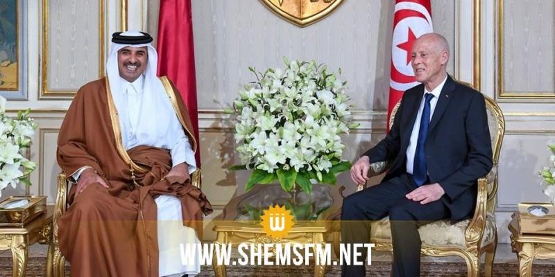 أمير قطر خلال لقائه رئيس الجمهورية:'نتطلع لزيارة الرئيس في بلده الثاني قطر'