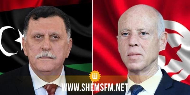 في مكالمة هاتفية مع السراج: سعيد يؤكد''تمسك تونس بالشرعية الدولية وبضرورة أن يكون الحل ليبيا ليبيا خالصا''