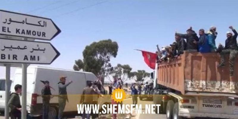 تطاوين: غلق الطريق الرئيسية والمطالبة بتنفيذ اتفاق الكامور