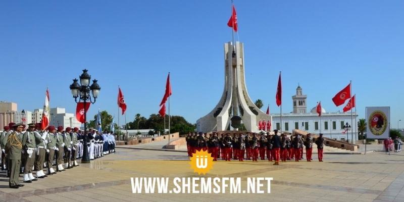 الذكرى 64 لانبعاث الجيش الوطني: موكب رفع العلم  بساحة القصبة (صور