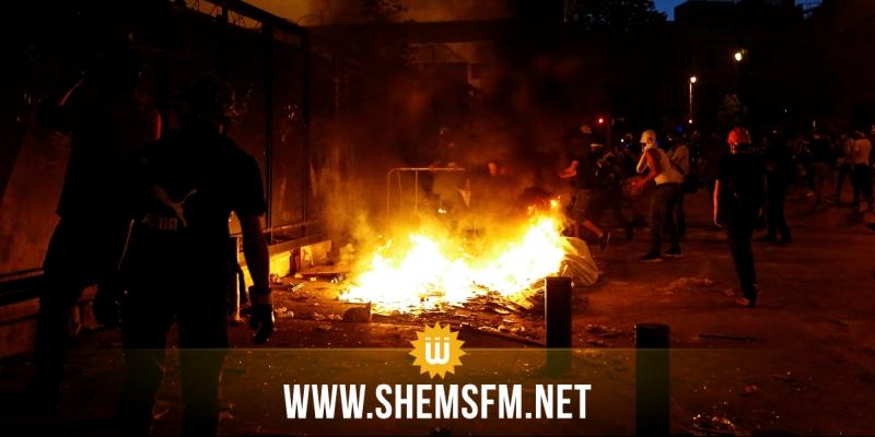 اندلاع حريق قرب البرلمان اللبناني