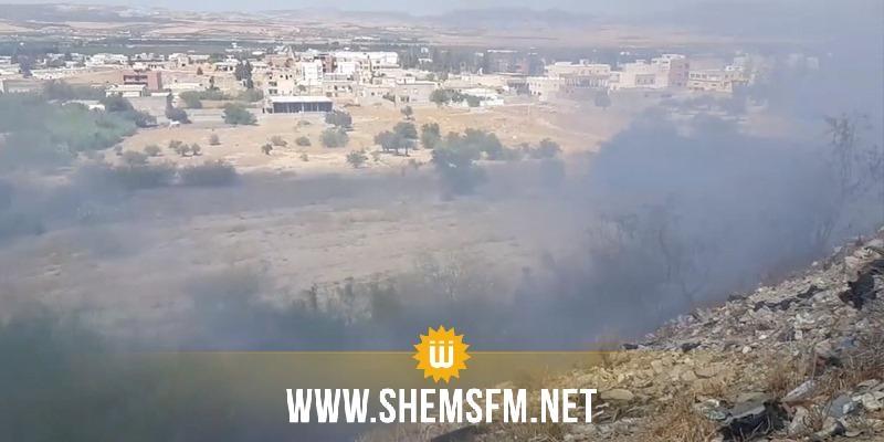 اندلاع حريق قرب محطة النقل بزغوان