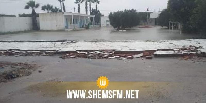 المنستير: سقوط حائط مدرسة بسبب الأمطار الغزيرة