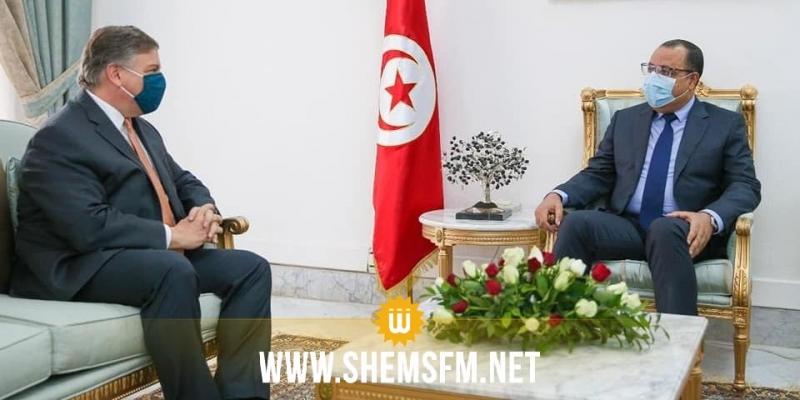 خلال لقاء بالمشيشي: السفير الأمريكي يؤكد استعداد حكومة بلاده الجديدة مواصلة دعم تونس