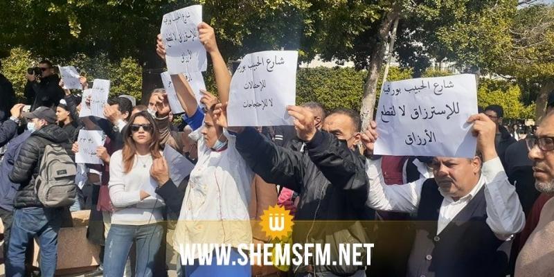 شارع الحبيب بورقيبة: أصحاب المقاهي يحتجون ضد كثرة الإحتجاجات