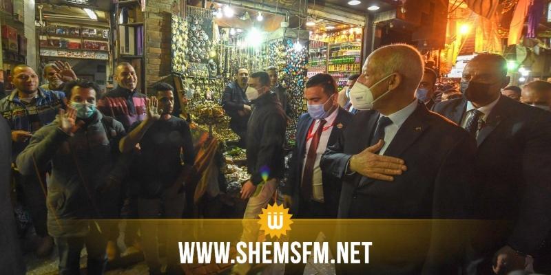بالصور: قيس سعيد يتجول في القاهرة