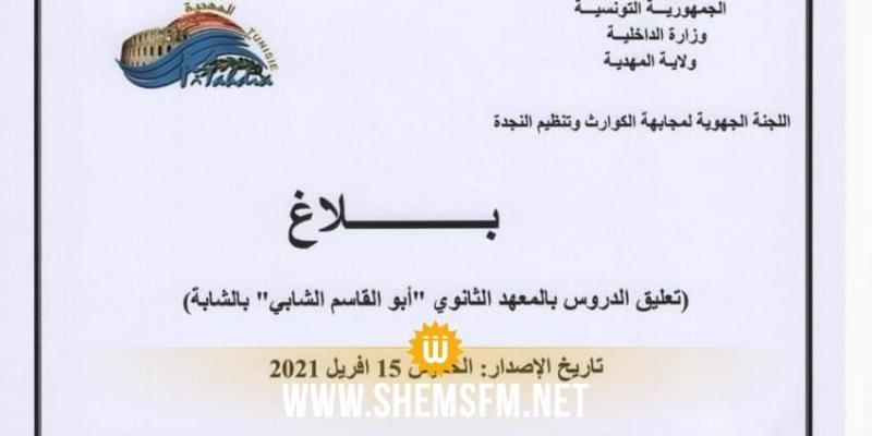 المهدية: تعليق الدروس بمعهد أبو القاسم الشابي بالشابة بسبب كورونا