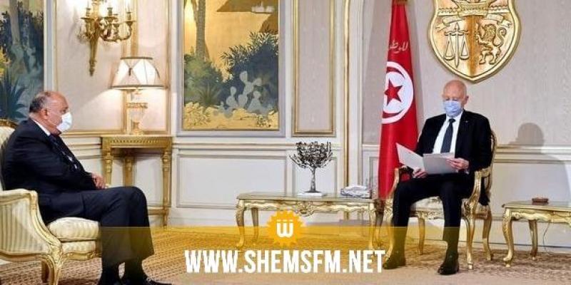 وزير خارجية جمهورية مصر يُطلع قيس سعيد على آخر تطورات ملف سدّ النهضة