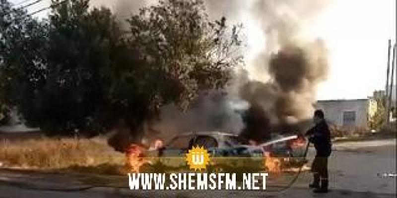 المنستير: ملثمان يحرقان سيارتين تابعتين للحرس الوطني