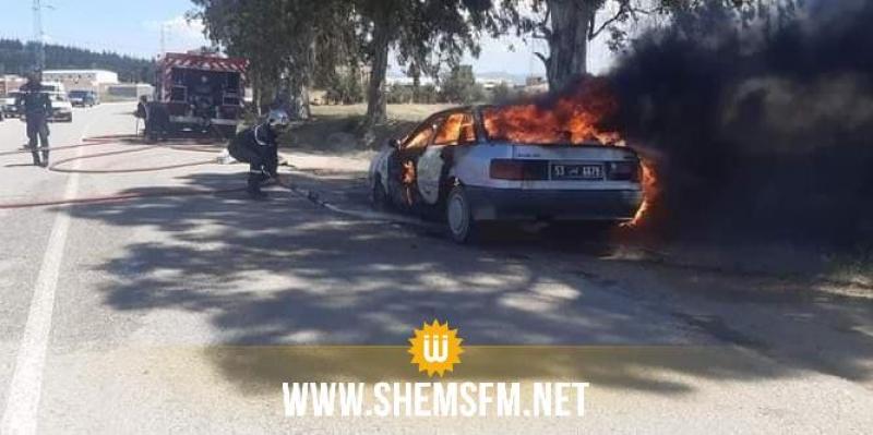 جندوبة: نشوب حريق بسيارة كاد يأتي على مساحات كبيرة من حقول القمح