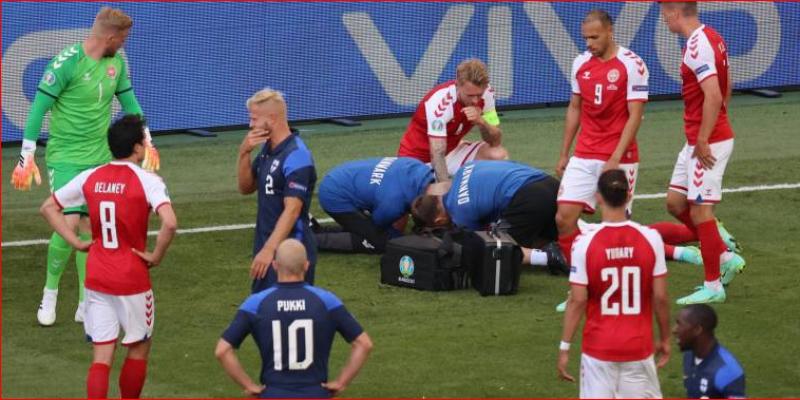 كاس اوروبا : لإصابة خطيرة جدا لإريكسون تتسبب في إيقاف مباراة الدنمارك وفنلندا