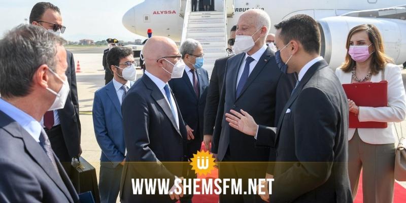 كان في استقباله وزير الخارجية الإيطالي: قيس سعيد يصل إلى روما (صور)