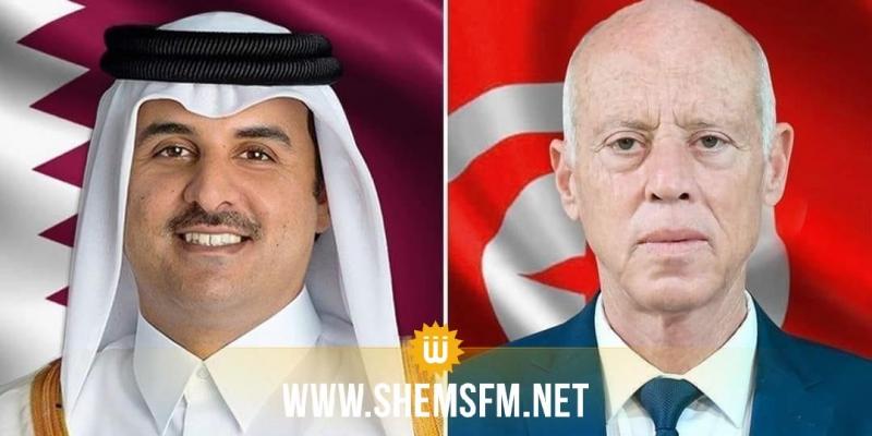 قيس سعيد يتبادل تهاني عيد الأضحى مع أمير قطر
