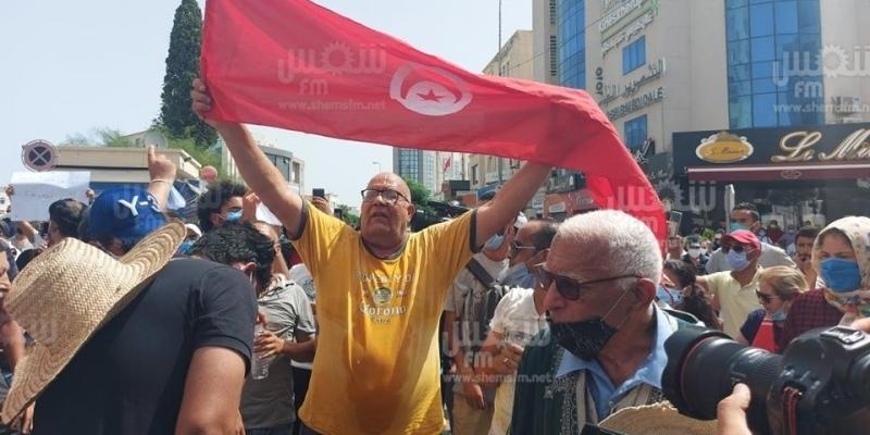 باردو: محتجون يرفعون شعار 'ديقاج' ضد المشيشي والغنوشي والنواب (فيديو)