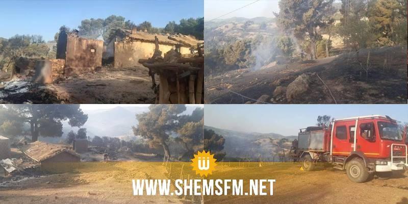غار الدّماء: حريق منطقة فج حسين يأتي على 12 منزلا (صور)
