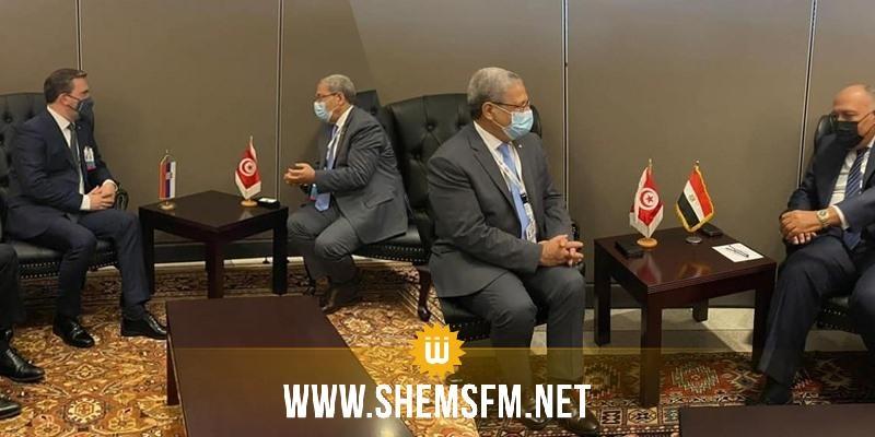 الجرندي يلتقي في نيويورك وزيرا خارجية مصر وصربيا