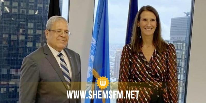 الجرندي يلتقي في نيويورك نائبة الوزير الأول ووزيرة الخارجية البلجيكية