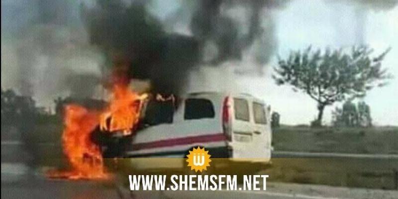 المهدية: اندلاع النيران في سيارة أجرة لواج