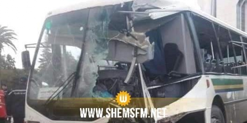 سيدي بوزيد : إصابة شخص في حادث مرور بين حافلة للنقل المدرسي وشاحنة