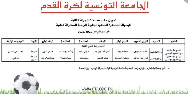 تعيينات حكام الجولة الثانية من البطولة المصغرة للصعود إلى الرابطة 2 لكرة القدم
